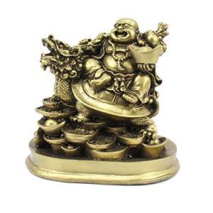 BuyRudraksha Fengshui Laughing Buddha Riding on Dragon and Ingot
