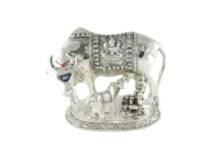 Oxidized Silver Plated Cow with Krishna and Calf