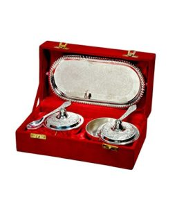 Silver Plated Handmade Engraved Table Bowl Set With Tray (Set Of 5 Pieces) With Velvet Box