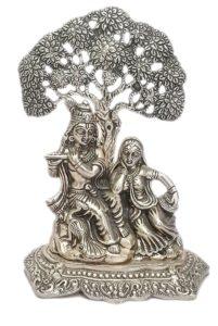Silver Finishing Radha Krishna Sitting Under Tree