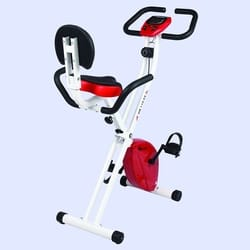 Powermax Fitness Foldable Upright Exercise Bike with Backrest & LCD Monitior